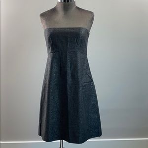 Theory Strapless Flare Dress Gray Silver Sz. 8